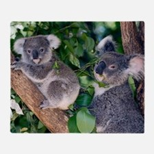 Mother koala and young Throw Blanket