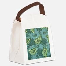 LARGE GREEN PAISLEY Canvas Lunch Bag