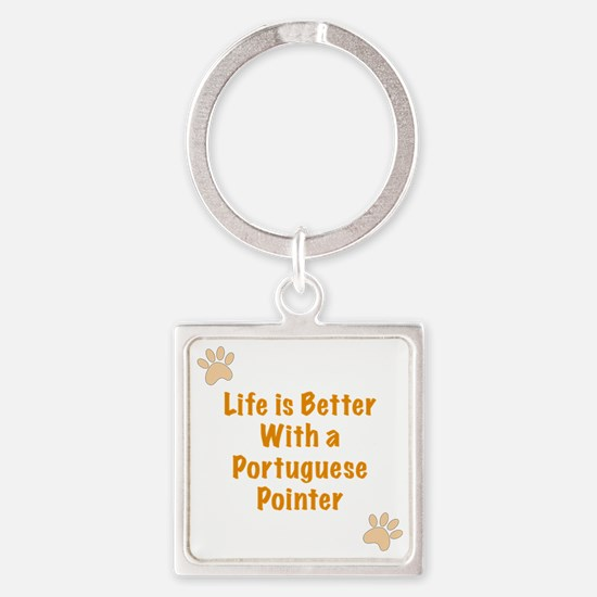 Life is better with a Portuguese P Square Keychain