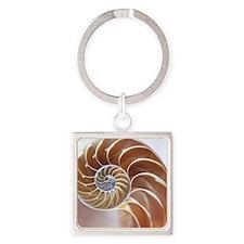 Nautilus shell Square Keychain
