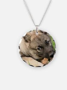 Norwegian elkhound puppy Necklace Circle Charm