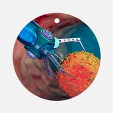 Nanorobot treating infected cell Round Ornament