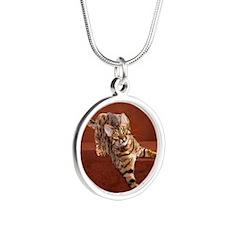 Show Cat Calendar Silver Round Necklace