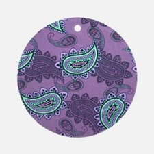 LARGE PURPLE PAISLEY Round Ornament