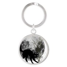 black cat moon Round Keychain