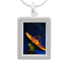 NASA deep space tracking Silver Portrait Necklace