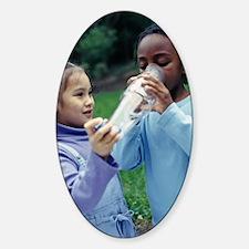 Children using asthma inhaler Sticker (Oval)