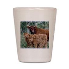Two highland calves with mama cow Shot Glass