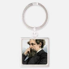 Charles Dickens, English author Square Keychain