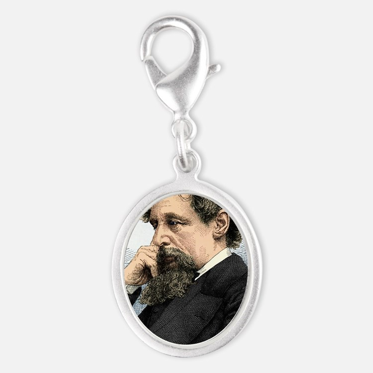 Charles Dickens, English author Silver Oval Charm