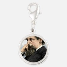 Charles Dickens, English autho Silver Round Charm