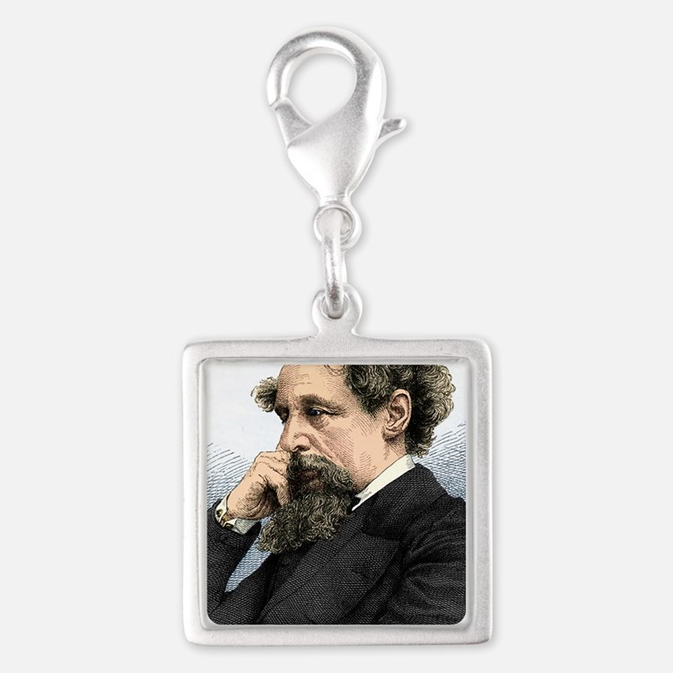 Charles Dickens, English auth Silver Square Charm