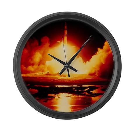 Night launch of Apollo 17 Large Wall Clock
