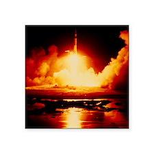 """Night launch of Apollo 17 Square Sticker 3"""" x 3"""""""