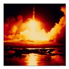 "Night launch of Apollo 1 Square Car Magnet 3"" x 3"""