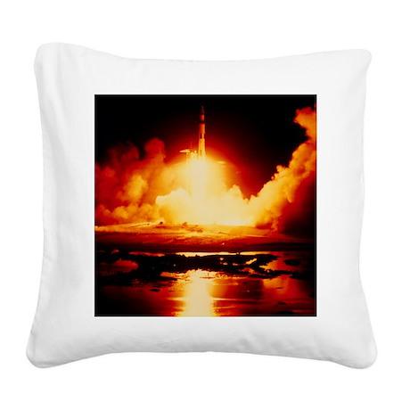 Night launch of Apollo 17 Square Canvas Pillow