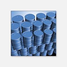 """Oil barrels, computer artwo Square Sticker 3"""" x 3"""""""