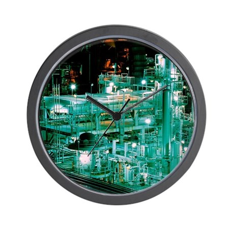 Oil refinery at night Wall Clock