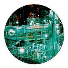 Oil refinery at night Round Car Magnet