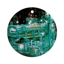 Oil refinery at night Round Ornament