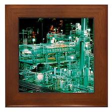 Oil refinery at night Framed Tile