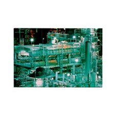 Oil refinery at night Rectangle Magnet
