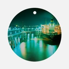 Oil tanker in port at night Round Ornament