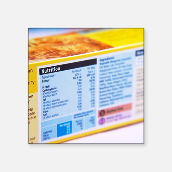 "Nutrition label Square Sticker 3"" x 3"""