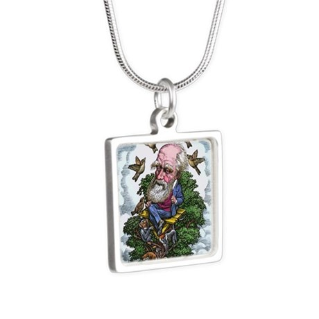 Charles Darwin in his evol Silver Square Necklace