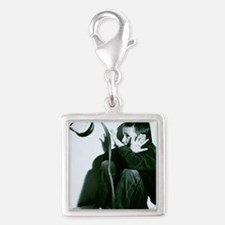 Child abuse Silver Square Charm