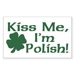 Kiss Me I'm Polish Rectangle Decal