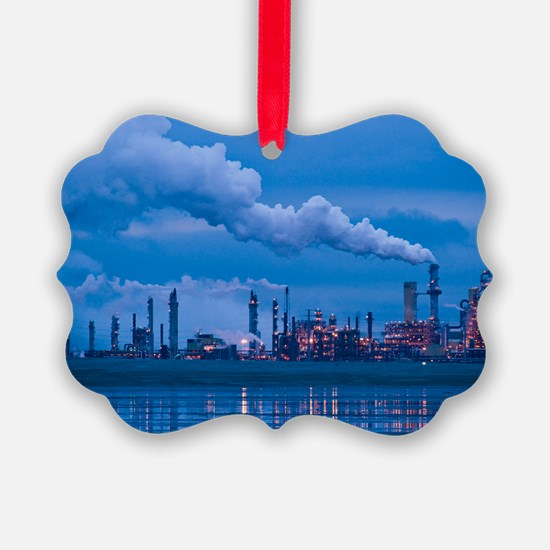 Oil refinery at dusk Ornament
