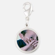 Child abuse Silver Round Charm