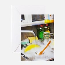Cleaning the dishes Greeting Card