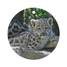 Snow Leopard Cub Round Ornament