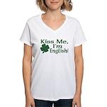 Kiss Me I'm English Women's V-Neck T-Shirt