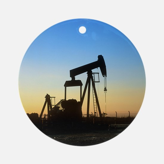 Oil well pump Round Ornament