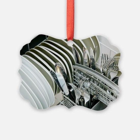 Clean utensils in a dishwasher Ornament