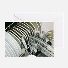Clean utensils in a dishwasher Greeting Card