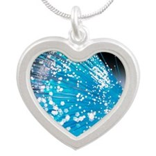 Optical fibres Silver Heart Necklace