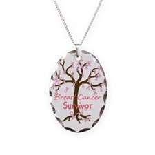 Breast Cancer Survivor Necklace Oval Charm
