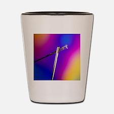 Optical fibres in eye of needle Shot Glass