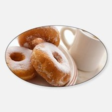 Coffee and doughnuts Sticker (Oval)