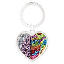 Left Brain, Right Brain Heart Keychain