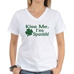 Kiss Me I'm Spanish Women's V-Neck T-Shirt