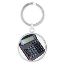 Close up of a calculator Round Keychain