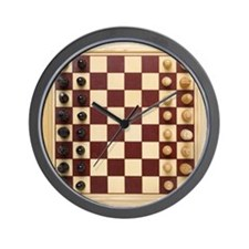 Elevated view of a chess board Wall Clock