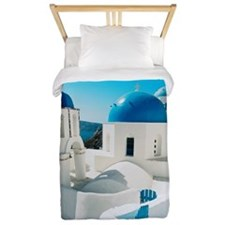 blue domes in the village of Oia Santor Twin Duvet