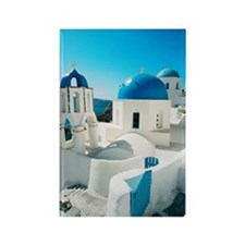 blue domes in the village of Oia  Rectangle Magnet