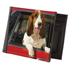 basset hound leaning out the window of Mens Wallet
